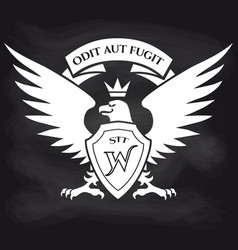 heraldic royal eagle on blackboard background vector image vector image