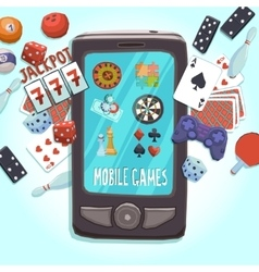 Mobile phone games concept vector