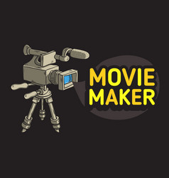 Movie maker design with isolated video camera on a vector