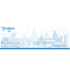 Outline yangon skyline with blue buildings vector