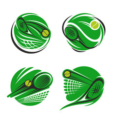tennis sport symbol with ball racket and net vector image