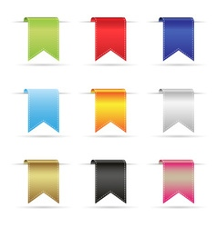 various color shiny curved hanging ribbon banners vector image