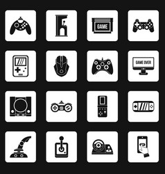 Video game icons set squares vector
