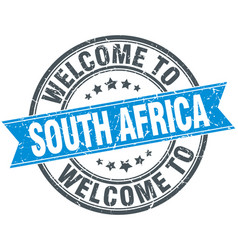 welcome to south africa blue round vintage stamp vector image