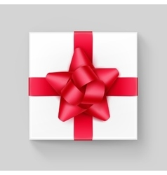 White square gift box with red ribbon bow vector