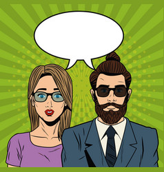 Woman with hipster couple pop art cartoon vector
