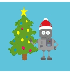 Santa claus robot standing next to xmas tree vector