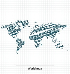 Doodle sketch of world map vector