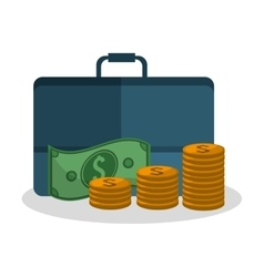 Bills coins and suitcase design vector