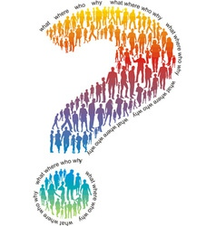 Question mark of colorful people vector