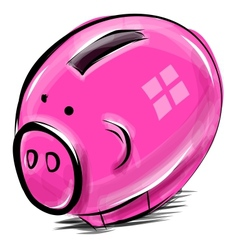 Money box cartoon pig sketch vector