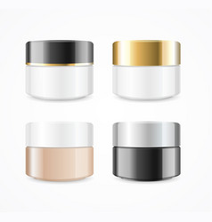 Realistic cream can cosmetic product set vector