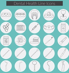 Dental care line icons set with dental floss teeth vector