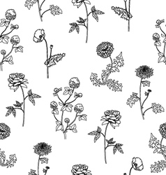 Seamless pattern with sketch flowers isolated vector