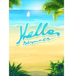 Hello summer - beach and sea boat vector