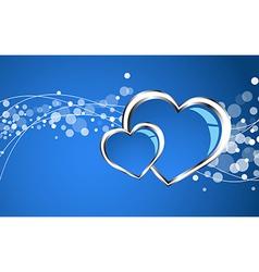 Beautiful blue heart background vector