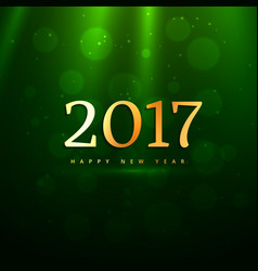 Beautiful golden 2017 text on green background vector