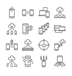 big data and data transfer line icon set vector image