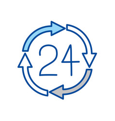 Blue contour of 24 hours arrow circle icon vector