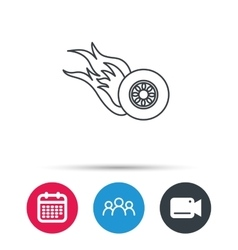 Burning wheel icon Speed or Race sign vector image