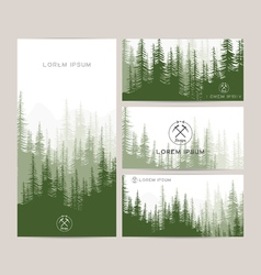 Business cards design set of green forest and vector