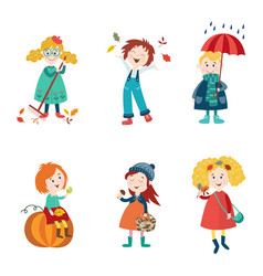 Cartoon kids enjoy fall autumn activities vector