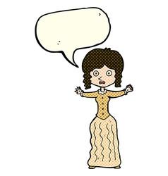 Cartoon worried victorian woman with speech bubble vector