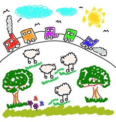 children drawing vector image vector image