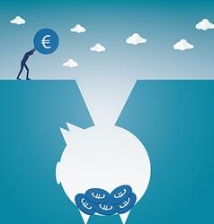 coins to piggy bank vector image