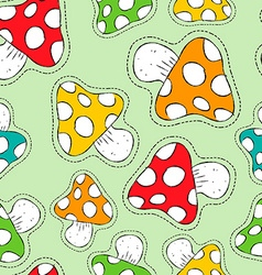 Colorful mushroom patch icon seamless pattern vector