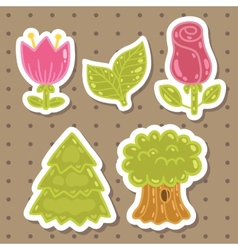 Cute cartoon rose tulip tree oak set vector image