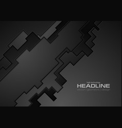 dark black tech geometric background vector image vector image