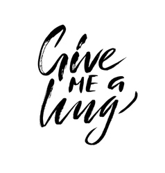 Give me a hug Brush calligraphy handwritten text vector image vector image