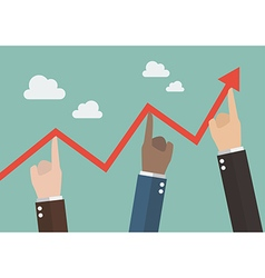 Hands pushing graph up vector image