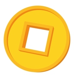 Happy coin icon cartoon style vector
