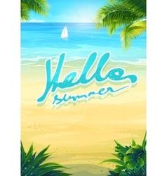 Hello summer - beach and sea boat vector image vector image