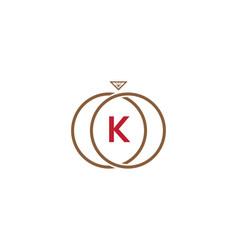 k letter ring diamond logo vector image vector image