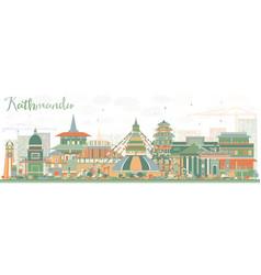 kathmandu skyline with color buildings vector image vector image