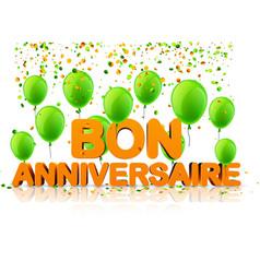 Orange happy birthday background with balloons vector