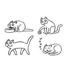 Pussycat emoticons set vector