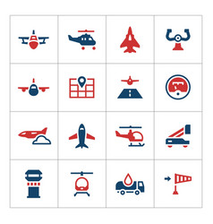 Set color icons of aviation vector