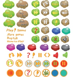 Set of icons for a computer game vector image vector image