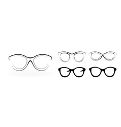 Set of modern glasses isolated on white background vector image vector image