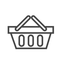 shopping basket thin line icon vector image vector image