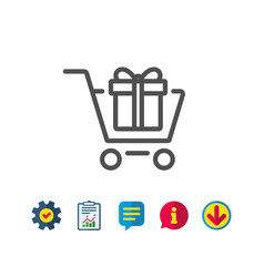Shopping cart with gift box line icon vector