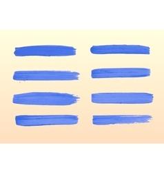 The set of blue strokes of gouache vector