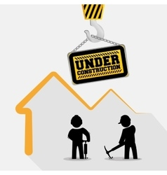 Under construction sign hang workers with vector