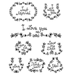 Wreaths and frames of roses and leaves vector image
