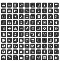 100 mobile app icons set black vector