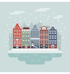 Amsterdam winter city scene vector